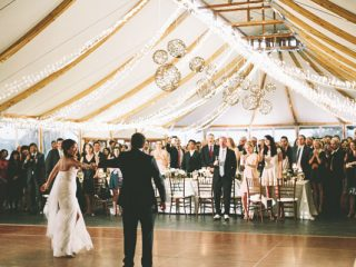 bride and groom dance at wedding reception at Castle Hill Inn