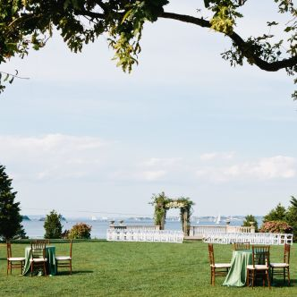 wedding ceremony outdoors at Castle Hill Inn Rhode Island