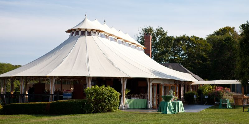 wedding tent for reception at Castle Hill Inn